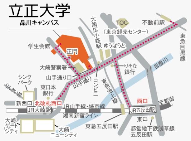 駅からキャンパスまでの地図